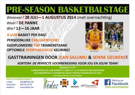 Flyer Basketbalstage De Panne (nieuw!)