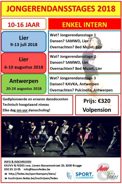 Jongerendansstages Flyer 2018