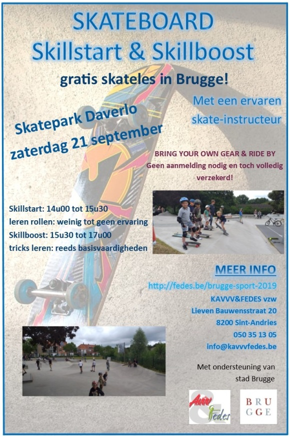 Flyer Skateboard Skillstart en Skillboost les 21 september
